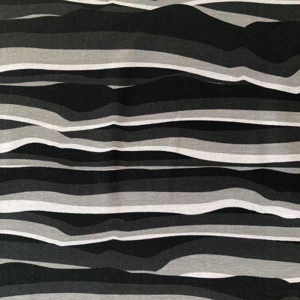 Jersey, wavy stripes, grau/schwarz