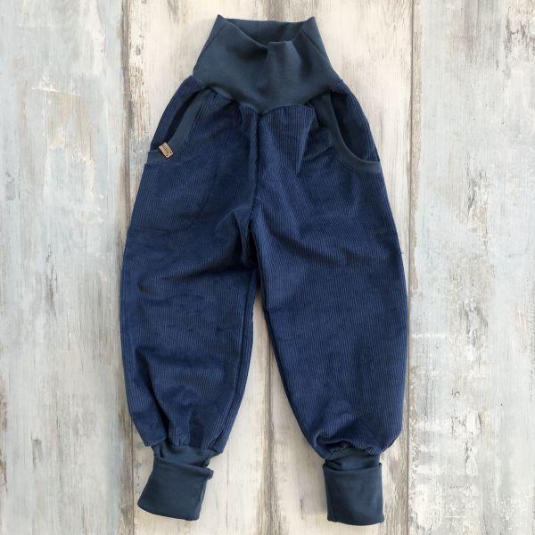 Mitwachshose Organic Cord, jeansblau