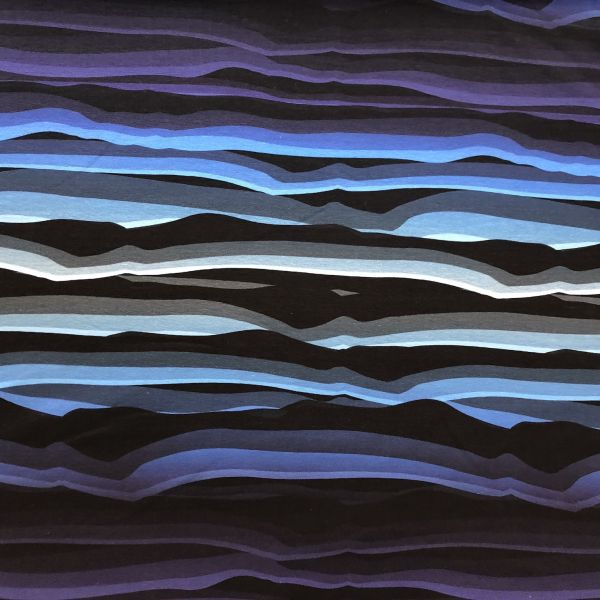 Jersey, wavy stripes, blau/schwarz