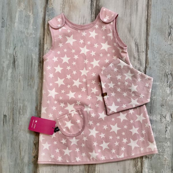 Trägerkleid, Sterne rosa weiß Gr. 98/104