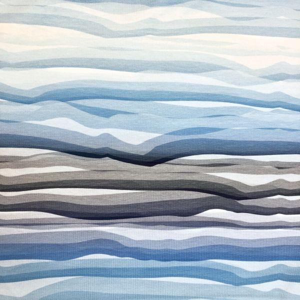 Jersey, wavy stripes, blau/weiß