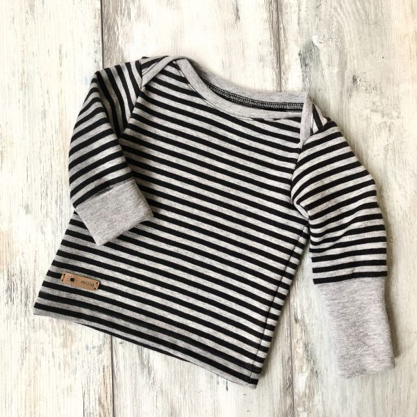 Shirt, geringelt, grau/anthrazit 62/68
